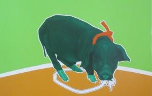 El Ultimo Puerco Verde Het laatste groene varken. Het varken is op Cuba het zgn. Mamífero Nacional, het nationale zoogdier. Wat moet Cuba zonder het varken? Luister ook naar het lied van de populaire Cubaanse band Buena Fé. 113 cm x 126 cm (b x h) olieverf en acryl op linnen